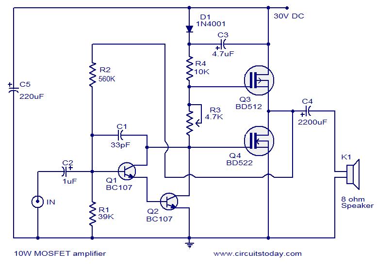 Popular Mosfet Audio Amplifier Circuits Circuit Diagrams