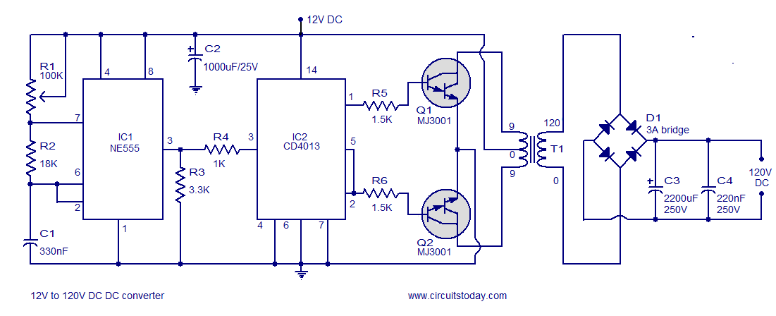12v to 120v dc dc converter circuit rh circuitstoday com ac to dc converter circuit diagram without transformer ac to dc converter circuit diagram