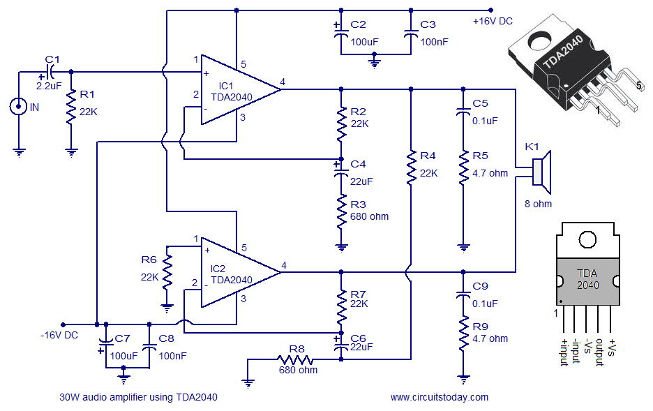 30 watt amplifier using TDA2040 audio amplifier circuit diagram 30 watts amplifier schematic diagram at panicattacktreatment.co