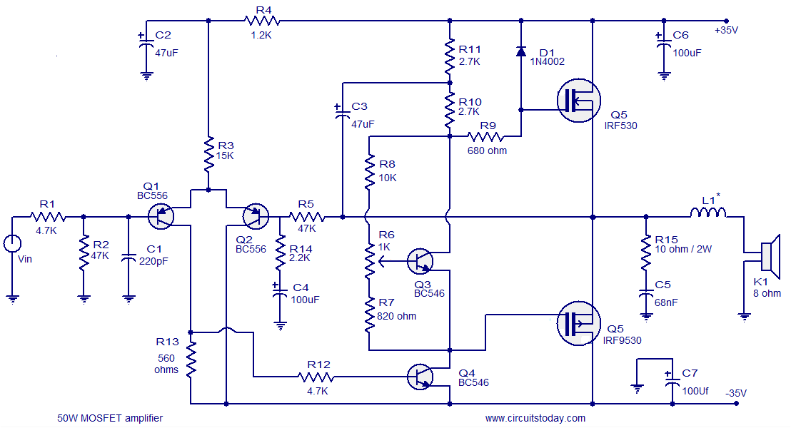 mosfet amplifier circuits rh circuitstoday com 2000w mosfet amplifier circuit diagram 1000w mosfet amplifier circuit diagram