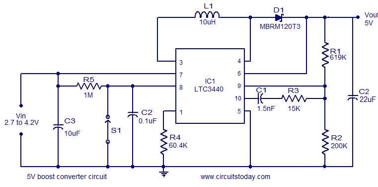 5v boost coverter using ltc3340 converts 2 7 to 4 2 v dc to 5v dc rh circuitstoday com