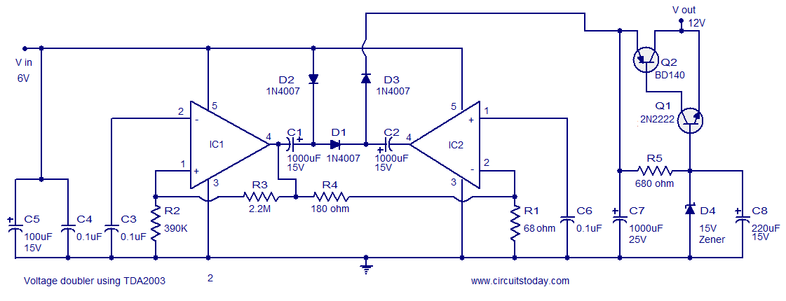 Voltage converter circuit -6 to 12 volts - using TDA2003