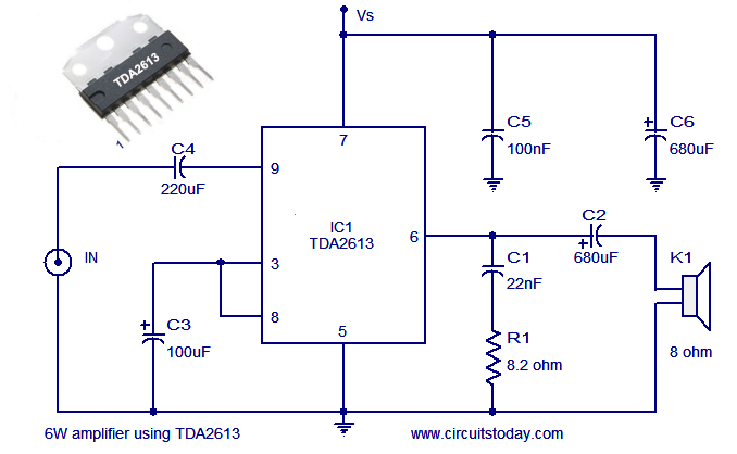 audio power amplifier circuit using hi fi audio amplifier ic tda2613hi fi audio amplifier circuit diagram