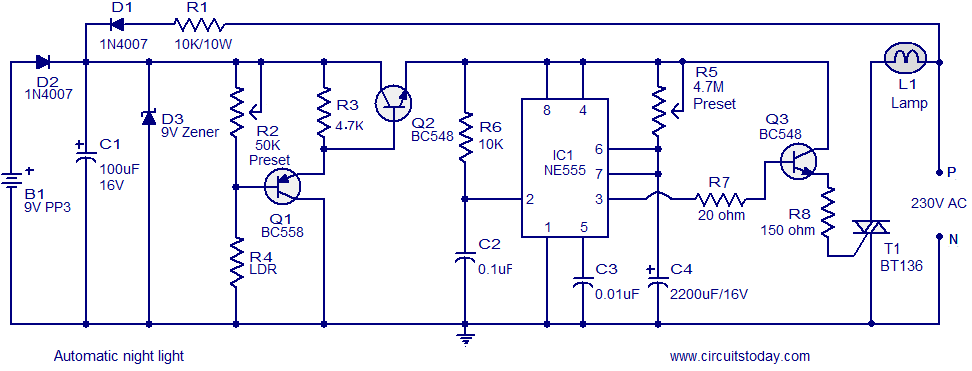 automatic night light circuit that switches off after a preset time rh circuitstoday com automatic light sensor circuit diagram automatic emergency light circuit diagram