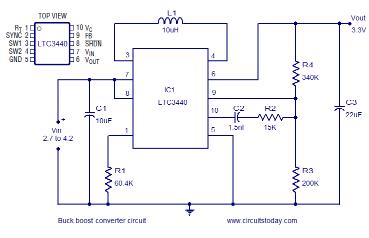 buck boost converter using ltc3440 for an output voltage of 3 3 volts rh circuitstoday com 3 Phase Buck-Boost Transformer 3 Phase Buck-Boost Transformer