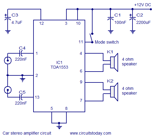 car stereo amplifier circuit diagram and schematics using tda1553 ic car stereo amplifier circuit