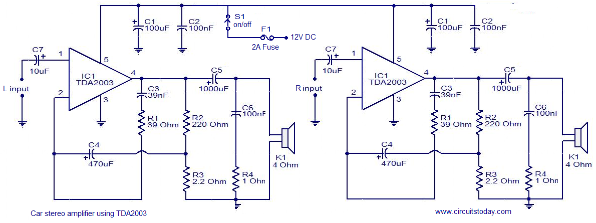 Car audio amplifier circuit schematic using TDA2003