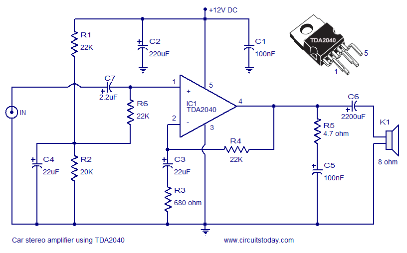car stereo amplifier using TDA2040 car amplifier circuit schematic using tda2040 integrated audio amplifier