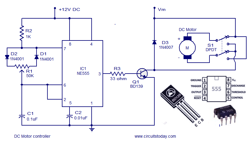 Dc motor speed controller circuit using ne555 for Forward reverse dc motor control circuit