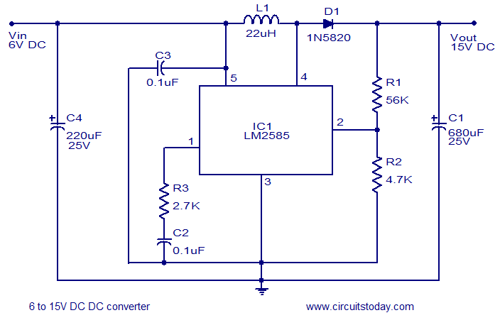 Strange 6V To15V Dc To Dc Converter Using Lm2585 Wired In The Boost Mode Wiring 101 Akebwellnesstrialsorg