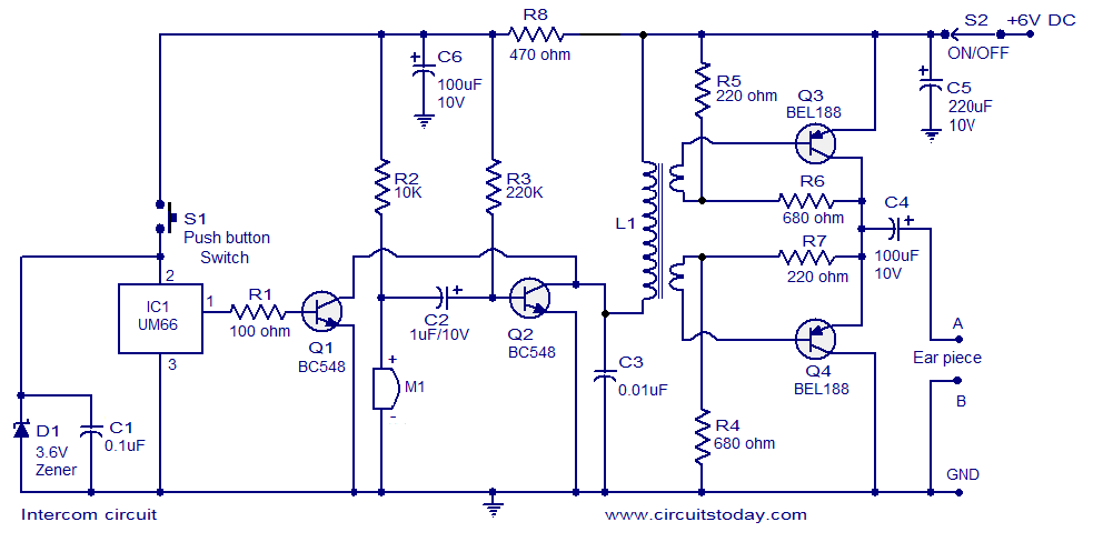 two way intercom circuit diagram using transistors and um66 as ringer rh circuitstoday com Door Intercom Intercom Speaker