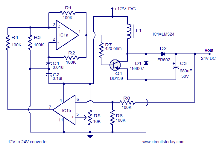 simple 12v to 24v dc dc converter using lm324 and transistor rh circuitstoday com 12V DC Charger AC to 12V DC Converter Schematic