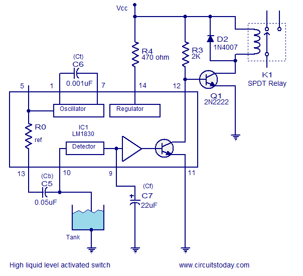 high fluid level activated relay
