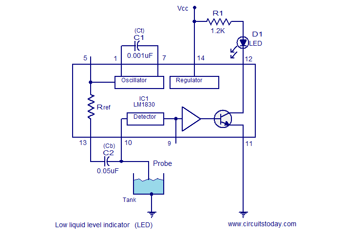 Liquid level indicator circuits using LM1830.Circuits Today