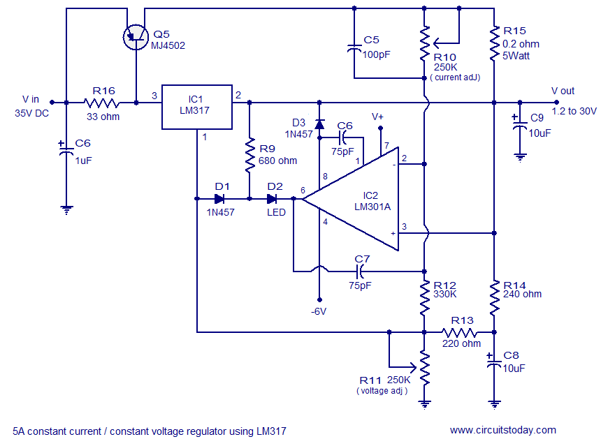 few lm317 voltage regulator circuits that has a lot of applications rh circuitstoday com