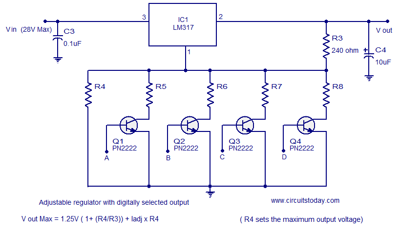 few lm317 voltage regulator circuits that has a lot of applications rh circuitstoday com lm317 voltage regulator circuit calculator lm317t voltage regulator circuit diagram