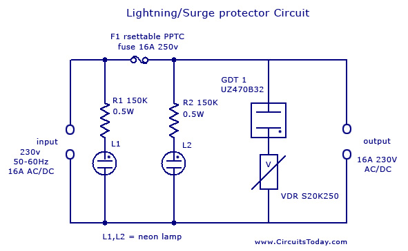 LightningSurge Protector Circuit Using Gas Discharge Tube GDT