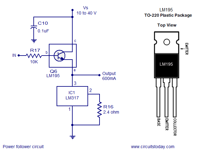 few lm voltage regulator circuits that has a lot of applications lm317 power follower power follower circuit