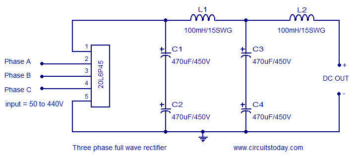 three phase rectifier circuit based on 20l6p45 rh circuitstoday com Single Phase Transformer Wiring Diagram 3 Phase Delta Diagram