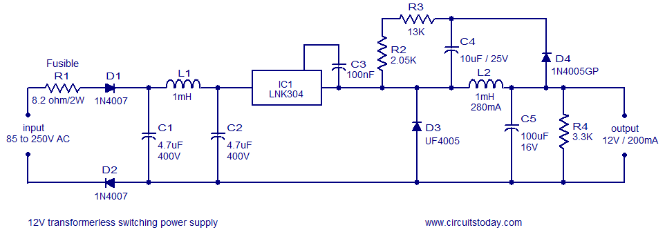 12v120ma Switch Mode Power Supply Using Lnk304