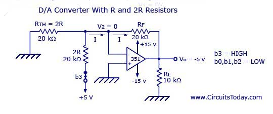 digital to analog converters (d a) d to a converter circuit Voltage Diagram digital to analog converter with r and 2r resistors resultant circuit
