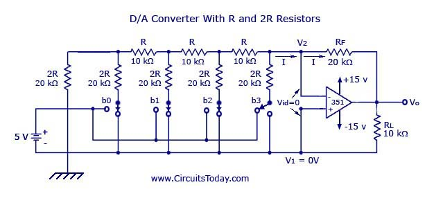 digital to analog converters (d a) d to a converter circuit Voltage Diagram digital to analog converter with r and 2r resistors