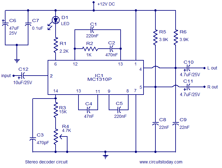 stereo decoder circuit using mc1310p rh circuitstoday com encoder circuit diagram motors decoder circuit diagram and truth table