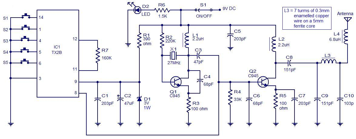 5 channel radio remote control circuit 5 channel radio remote control circuit based of tx 2b rx 2b pair 27mhz transmitter circuit diagram at mifinder.co