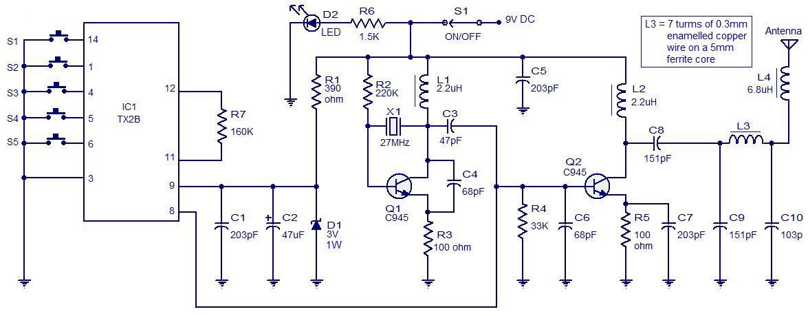 radio remote control transmitter ciruit