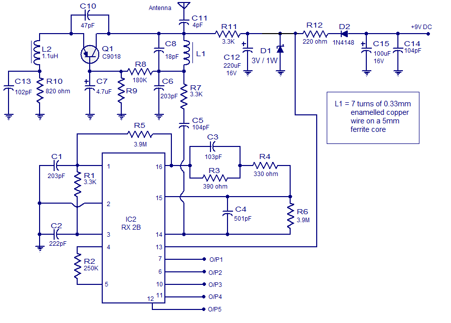 5 channel radio remote control circuit based of TX-2B / RX- 2B pair
