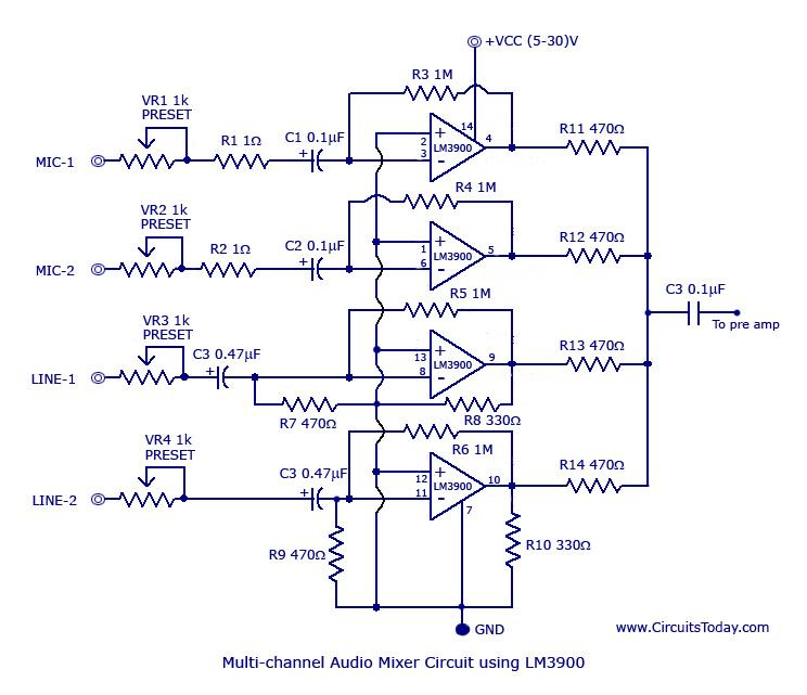 muti channel audio mixer circuit based on lm ic four channels circuit diagram lm3900 audio mixer