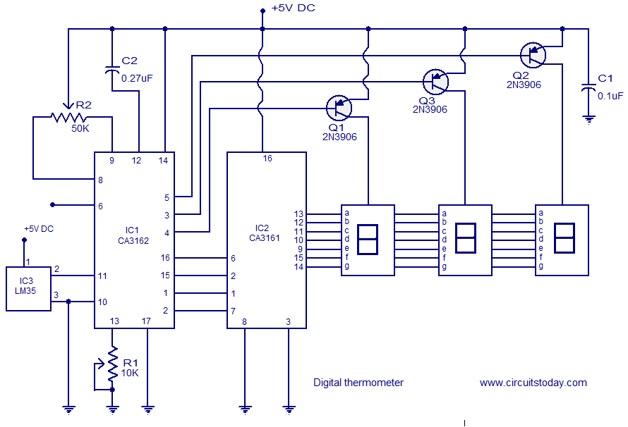 Digital thermometer circuit based on CA3162 ,CA3162 and LM35. on