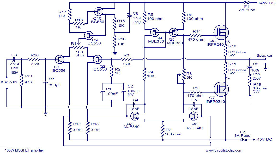 100w mosfet power amplifier circuit using irfp240 irfp9240 rh circuitstoday com