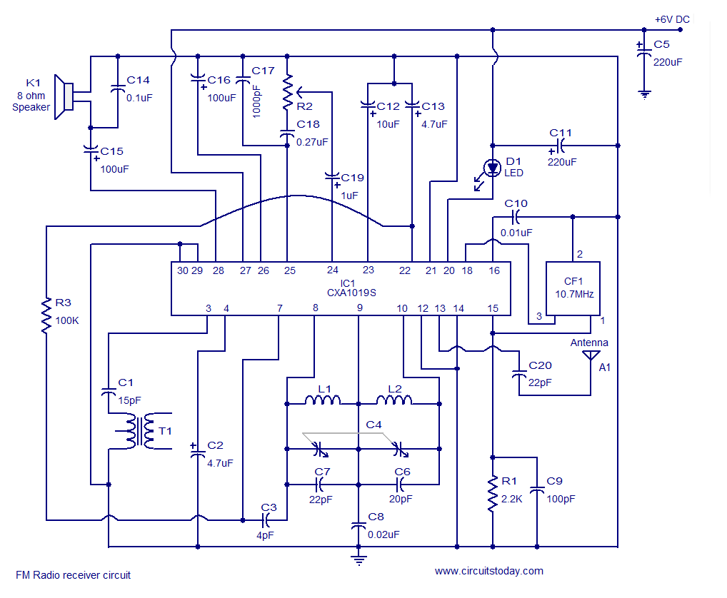 fm receiver circuit using cxa1019 3v to 7v operation 500mw output fm receiver circuit