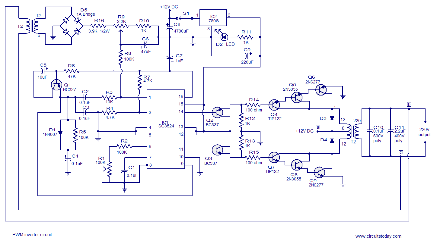 Pwm Inverter Circuit Based On Sg3524 12v Input 220v Output 250w This Uses A Series Of Transistors With An Rc Pair To Pulse About The
