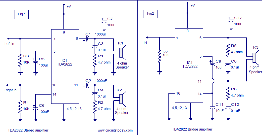 Tda2822 Mono Amplifier Circuit - Tda2822 Amplifier Circuit - Tda2822 Mono Amplifier Circuit