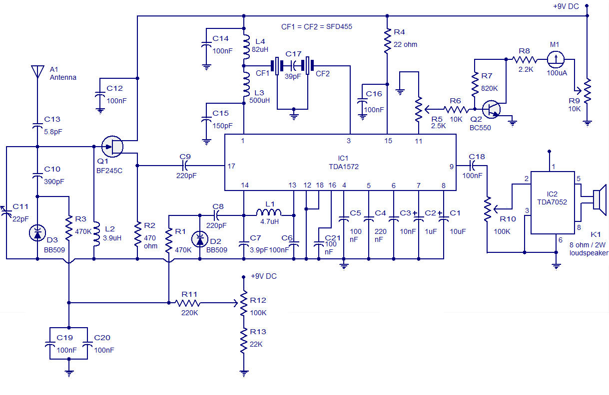 Am Radio Circuit Based On Tda1572 9v Operation2w Output Http Wwwcircuitstodaycom Seriesinductorfilter Receiver