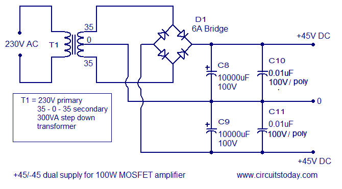 +45/-45 dual supply mosfet amplifier