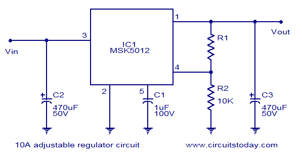 10a adjustable voltage regulator using msk5012., Wiring circuit