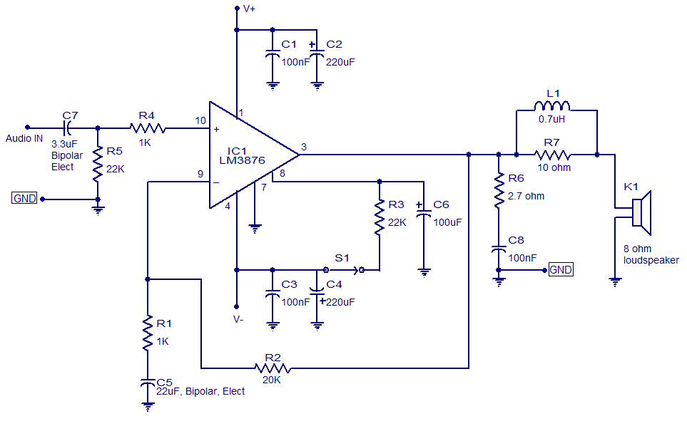 50 watt audio amplifier based on LM3876. Low noise, good signal to noise  ratioCircuitsToday