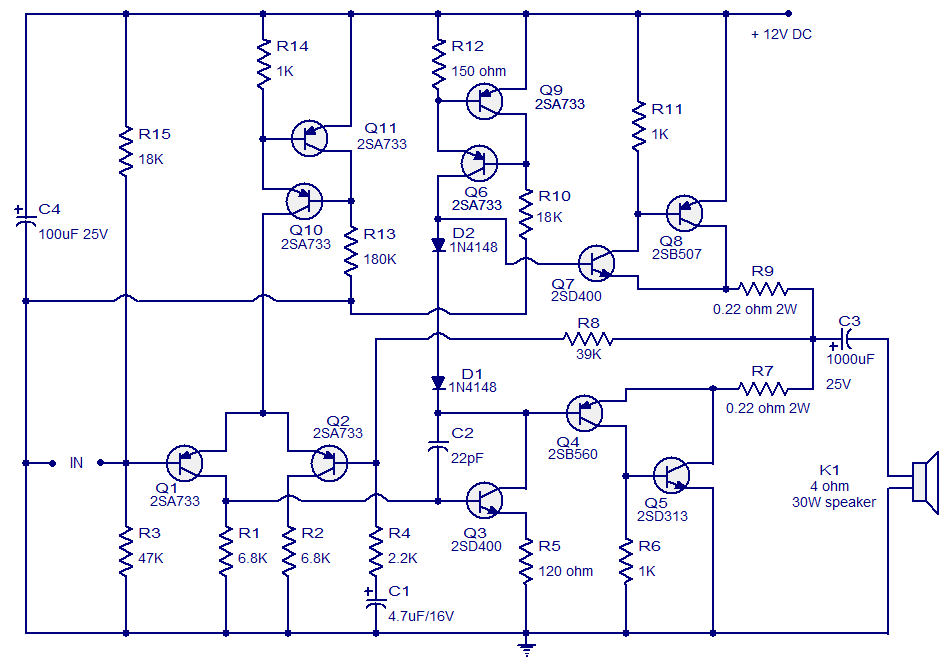 Class ab amplifier circuit operating from 12 volts 10w fully circuit diagram class ab amplifier publicscrutiny Images