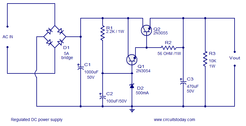 regulated dc power supply using transistors  circuitstoday