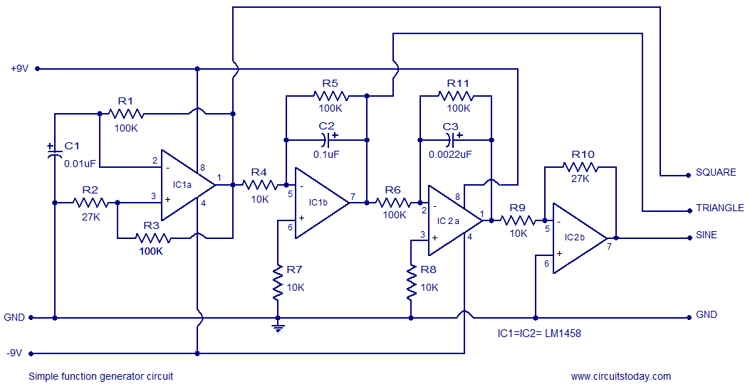 simple function generator circuit based on opamp lm1458 rh circuitstoday com arbitrary function generator block diagram front panel of function generator block diagram