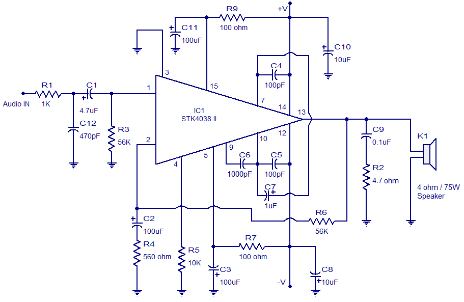 60 watt amplifier circuit based on stk4038 60 watt output into a 4 rh circuitstoday com Dual Amp Wiring Diagram 6 Channel Amp Wiring Diagram