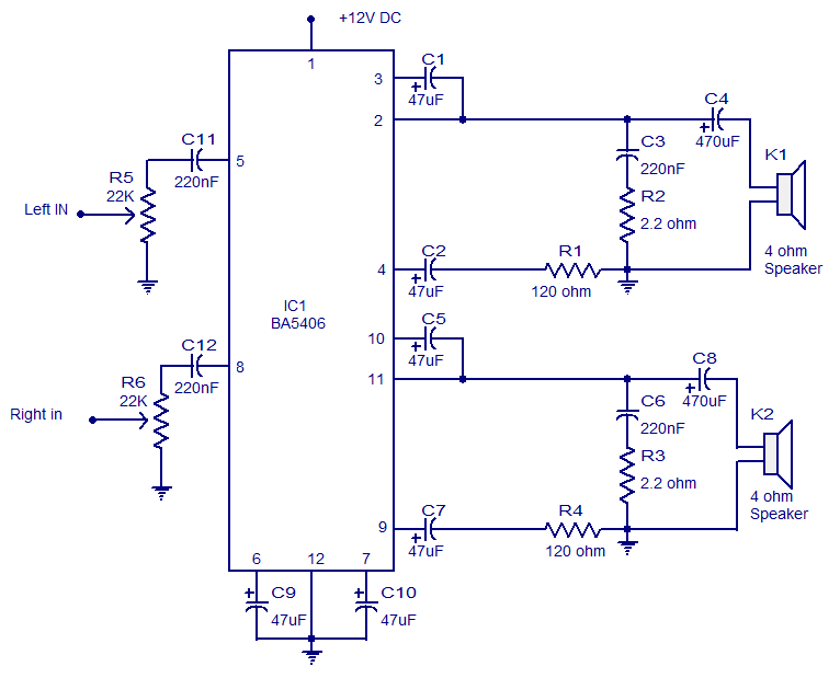 5x2 Watt Ba5406 Stereo Lifier Operates From 9v Dc Low Distortionrhcircuitstoday: Stereo Audio Lifier Circuit Diagram At Elf-jo.com