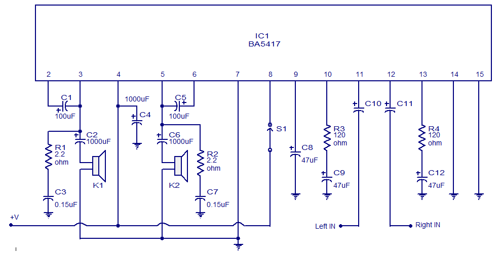 5x2 wattt stereo amplifier circuit using ba5417 operates from 12v ba5417 stereo amplifier circuit
