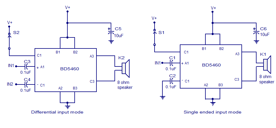 Simple Class D amplifier circuit using BD5460. Battery ...