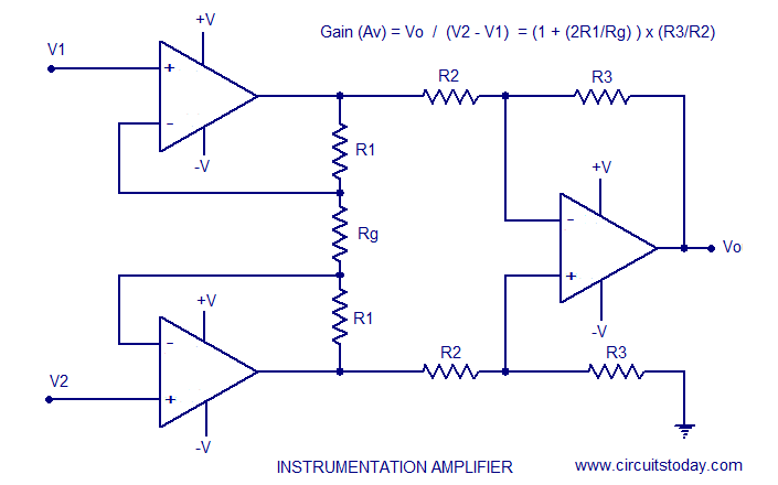 instrumentation amplifier using opamp circuit diagram working instrumentation amplifier using aopam
