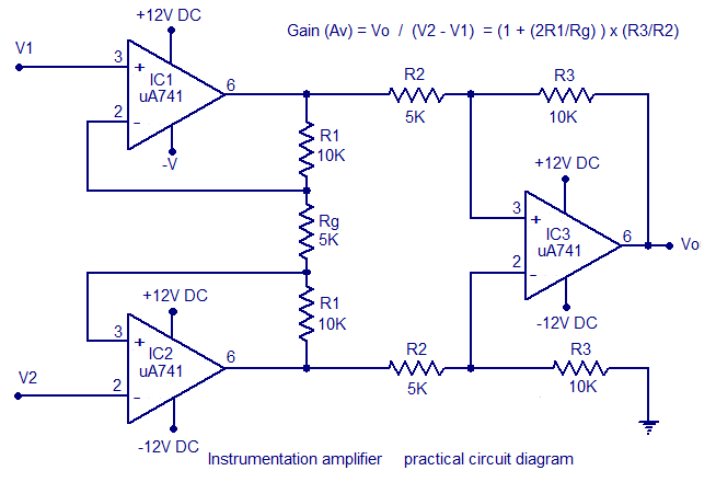 instrumentation amplifier using opamp