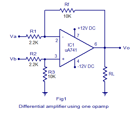 Differential  lifier on voltage amplifier op amp circuit